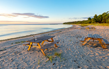 Sunrise at a public beach of Jurmala - famous international resort in Latvia, Europe
