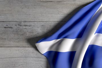 Scotland flag on wooden surface