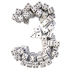 digits made from white dice. Isolated on white. 3D illustration.