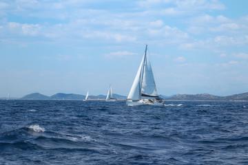 Sailboat under Full Sail at Adriatic Sea near the Island of Murter, Dalmatia, Croatia