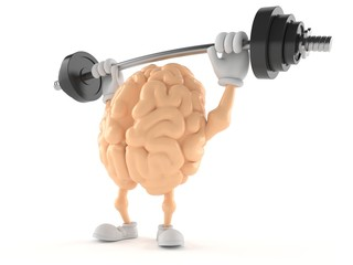 Brain character lifting heavy barbell