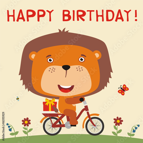 Happy Birthday Cute Lion Rides On Bike With Gift Card For Little In Cartoon Style