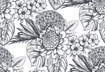 Vector seamless pattern with compositions of hand drawn tropical flowers and plants.