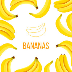 Banana framed Vector card. empty center boarded with Ripe bananas
