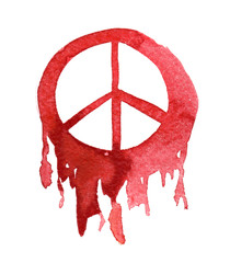 Bright red bleeding peace sign painted in watercolor on clean white background