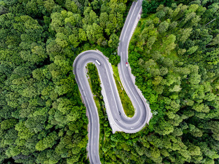 Hair pin turn winding road trough the forest