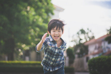 Asian child playing in the park