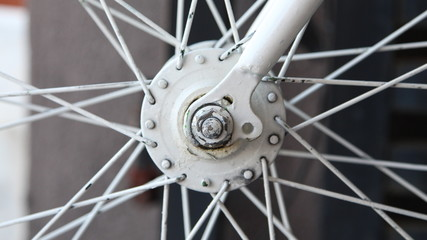 Axel and spoke section close-up of bicycle wheel. Selected focus
