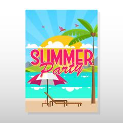 Summer Flyer or Brochure in Flat Style Design Vector