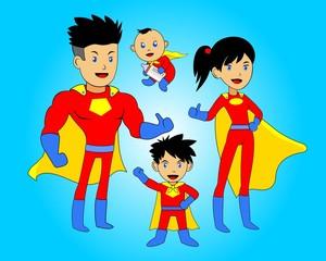 cartoon anime super hero family red version