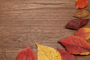 秋イメージ 落ち葉と木目