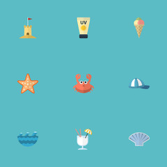 Flat Icons Conch, Anti-Sun Cream, Cancer And Other Vector Elements. Set Of Season Flat Icons Symbols Also Includes Waves, Starfish, Sand Objects.