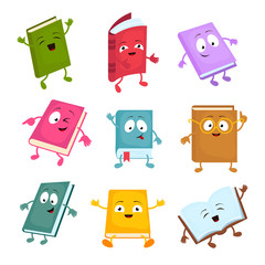Funny and cute cartoon book vector characters. Happy library books mascots set