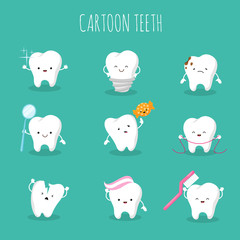 Cute cartoon tooth vector set. Baby teeth health and hygiene icons