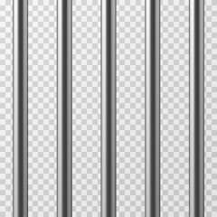 Realistic metal prison bars. Jailhouse grid isolated vector illustration