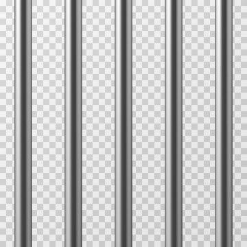 Realistic metal prison bars. Jailhouse grid isolated vector illustration