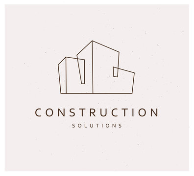 Vector flat simple construction company and architect business studio logo design template isolated.