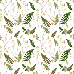 Floral vector seamless pattern with fern leaves, shepherd's purse plant and stylized leaves.