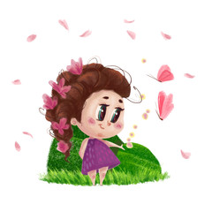 Hand drawn portrait of cute little girl standing on the green grass with flowers in long hair isolated on white background. Summer child illustration with nature elements and butterflies.