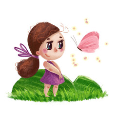 Hand drawn portrait of cute little girl with long hair standing on the green grass next to flying butterfly isolated on white background. Summer child illustration with nature elements.