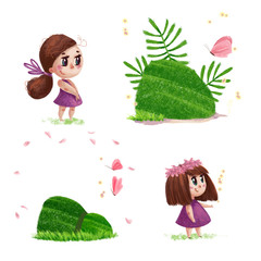 Artistic hand drawn collection of nature elements and cute little girls with long brown hair and pink dress standing isolated on white background. Watercolor style illustration.