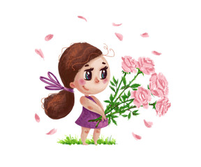 Hand drawn artistic portrait of little cute girl with roses bouquet standing isolated on white background. Peaceful harmony cute child illustration. Congratulation card, wedding invitation.