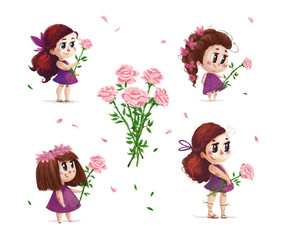Hand drawn artistic portrait of little cute girl with roses bouquet standing set isolated on white background. Peaceful harmony cute child illustration. Congratulation card, wedding invitation.