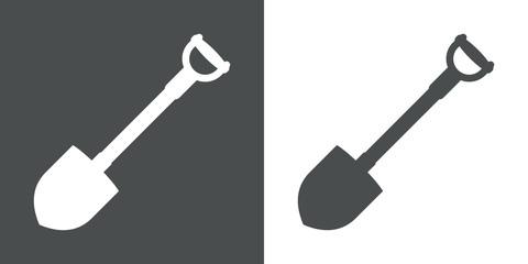 Icono plano pala gris y blanco
