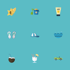 Flat Icons Drink, Cocos, Shell And Other Vector Elements. Set Of Summer Flat Icons Symbols Also Includes Sun, Conch, Cap Objects.