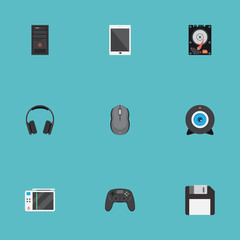 Flat Icons Slot Machine, Earphones, System Unit And Other Vector Elements. Set Of Laptop Flat Icons Symbols Also Includes Diskette, Earmuff, Web Objects.