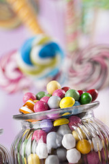 Mixed colorful sweets, lollipops and candy