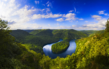 Panoramic view of the meander of Queuille in Auvergne land