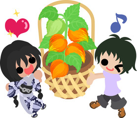 A cute little people and a basket of physalis
