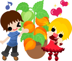 A cute little people and a flowerpot of physalis