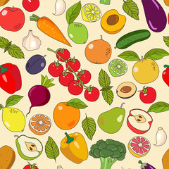 Seamless vector pattern with hand drawn fruits and vegetables