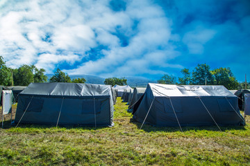 Military tents. Military scientist. Tent label