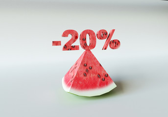 3D rendering; A piece of watermelon and 20%