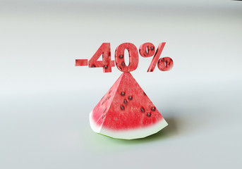 3D rendering; A piece of watermelon and 40%