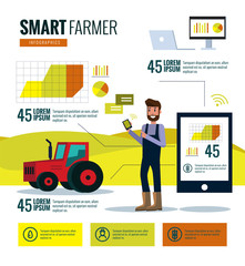 Smart farmer infographics. Farm Data analysis and management concept. flat design elements. vector illustration