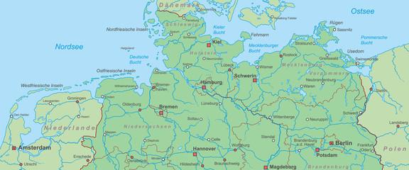 Norddeutschland - Landkarte von Nord- und Ostsee
