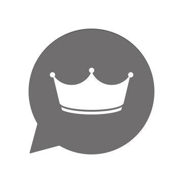 Graue Sprechblase rund - Krone König