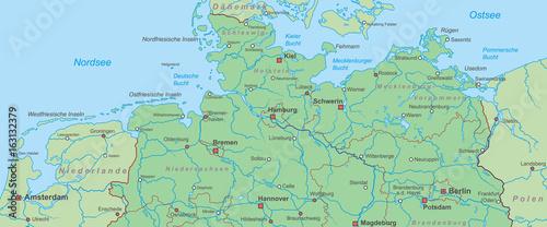 karte norddeutschland Norddeutschland   Landkarte von Nord  und Ostsee