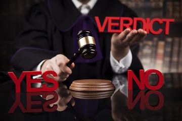 Verdict, Court gavel,Law theme, mallet of Judge