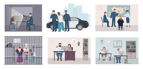 Different situations in police station. Colorful set featuring police work arrest, interrogation, identikit, meeting, investigation. Flat illustration vector collection