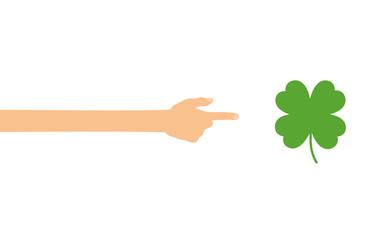 Hand zeigt auf - Kleeblatt - Glück