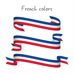 Set of three modern colored vector ribbon with the French tricolor isolated on white background, abstract French flag, Made in France logo