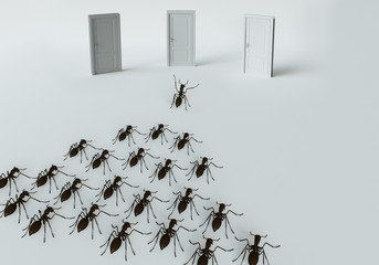 3D rendering, A set of ants  for leadership
