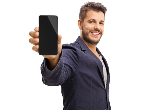 Young guy showing a phone
