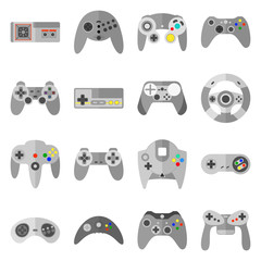 Different game controllers. Vector illustrations set of computer joy sticks