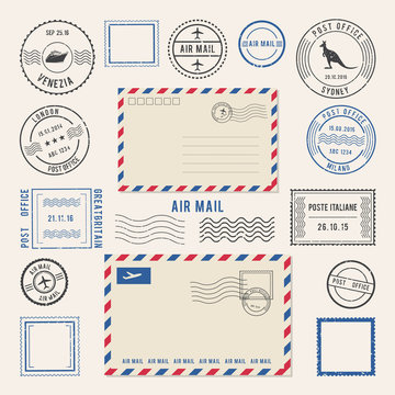 Vector illustrations of letters and postmarks, airmail designs. Antique stamps